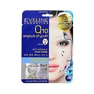 Eveline Cosmetics EVELINE intenzívna protivrásková sheet látková maska Q10 koenzým mladosti 1ks obraz